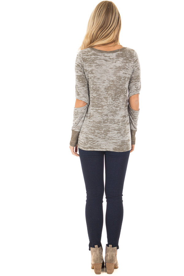 Olive Two Tone Long Sleeve Tee with Open Elbows back full body