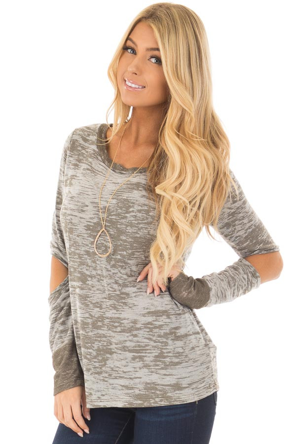 Olive Two Tone Long Sleeve Tee with Open Elbows front close up
