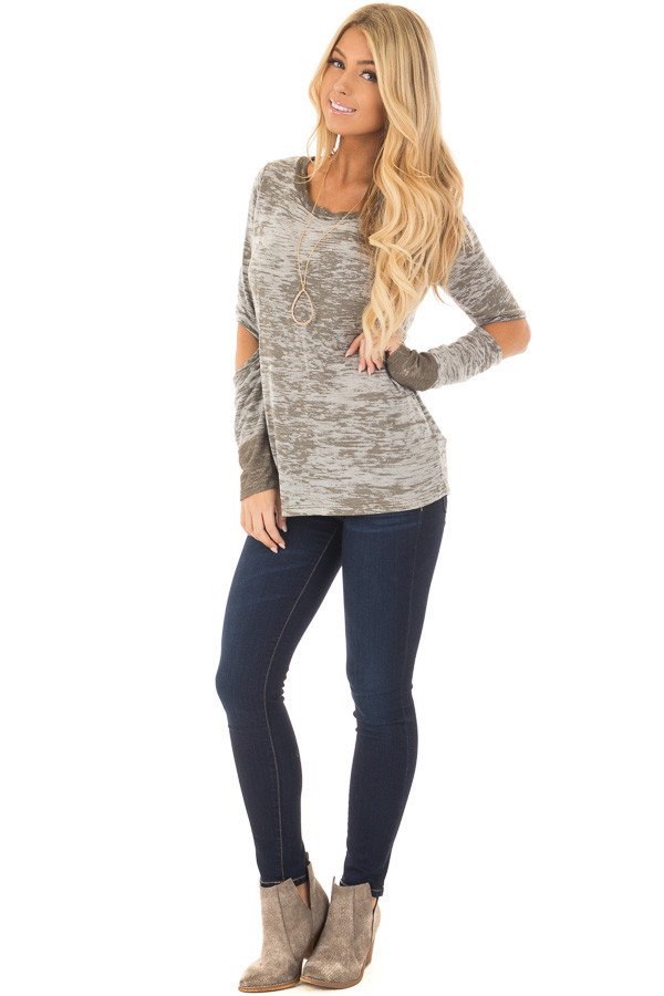 Olive Two Tone Long Sleeve Tee with Open Elbows front full body