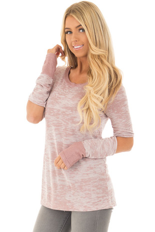 Mauve Two Tone Long Sleeve Tee with Open Elbows front closeup