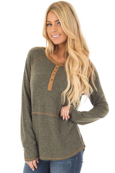 Olive Henley Top with Mustard Stitch Detail front close up