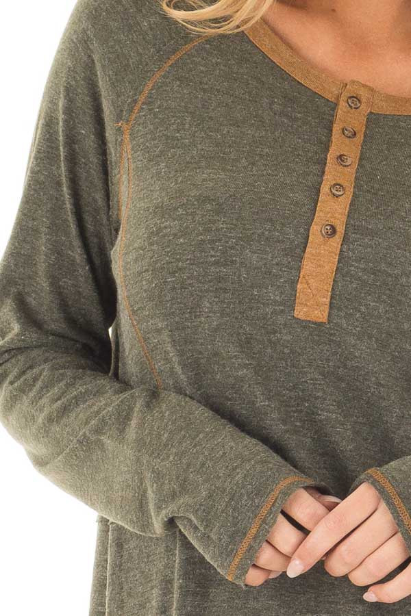 Olive Henley Top with Mustard Stitch Detail detail