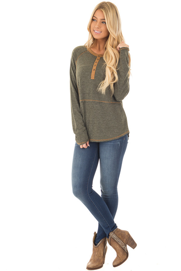 Olive Henley Top with Mustard Stitch Detail front full body