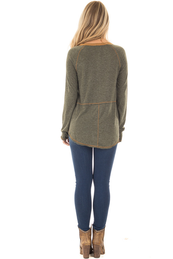 Olive Henley Top with Mustard Stitch Detail back full body