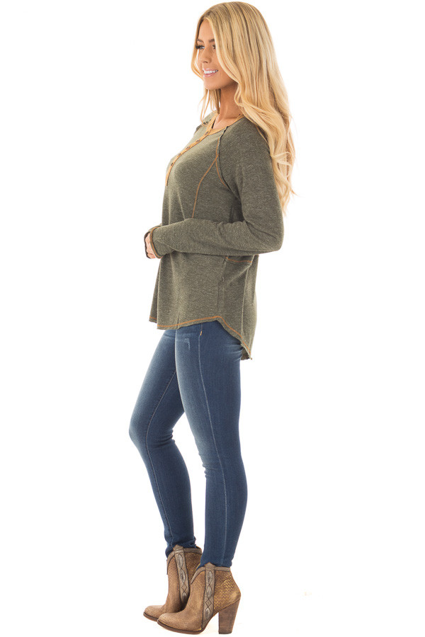 Olive Henley Top with Mustard Stitch Detail side full body