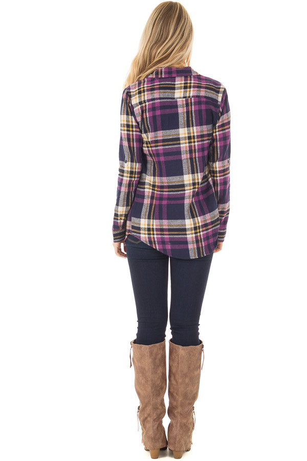 Purple and Navy Plaid Long Sleeve Button Up Top back full body