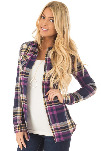 Purple and Navy Plaid Long Sleeve Button Up Top front close up