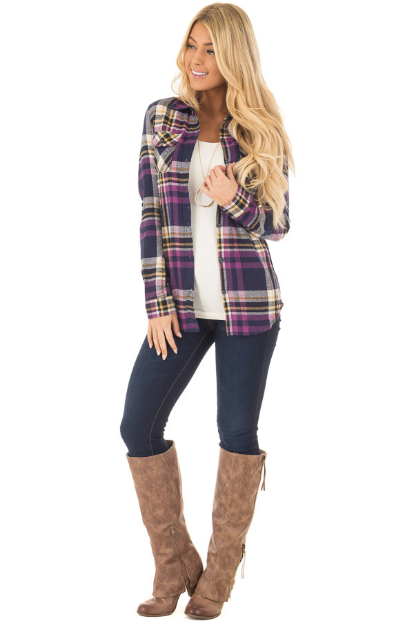 Purple and Navy Plaid Long Sleeve Button Up Top front full body