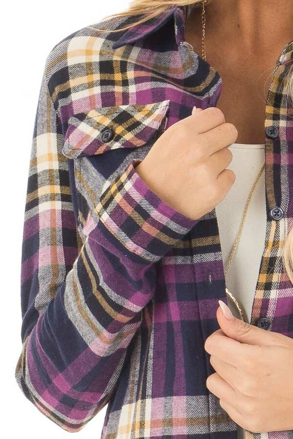 Purple and Navy Plaid Long Sleeve Button Up Top detail