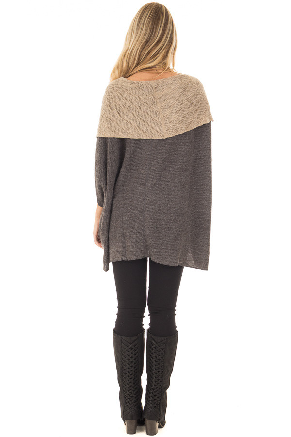 Charcoal Poncho with Taupe Contrast Neckline back full body