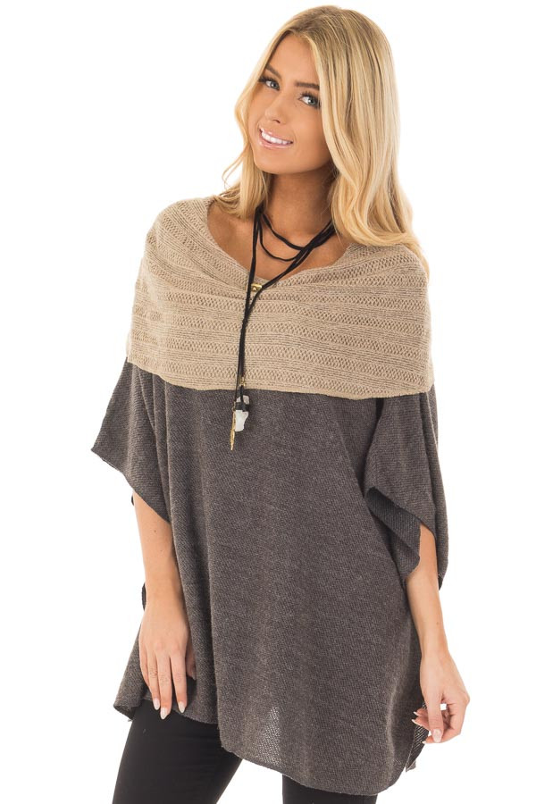 Charcoal Poncho with Taupe Contrast Neckline front close up