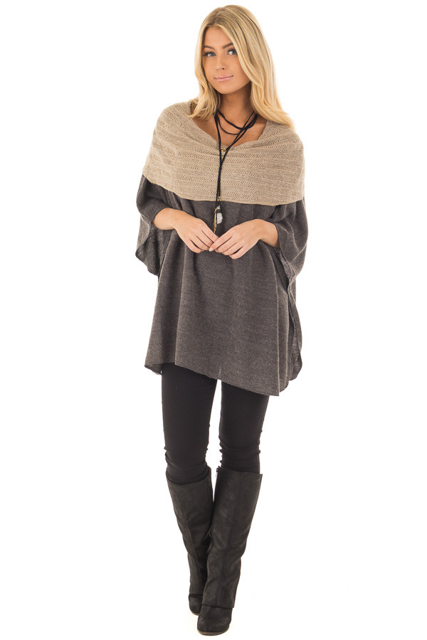 Charcoal Poncho with Taupe Contrast Neckline front full body
