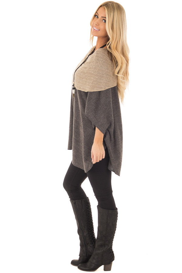 Charcoal Poncho with Taupe Contrast Neckline side full body