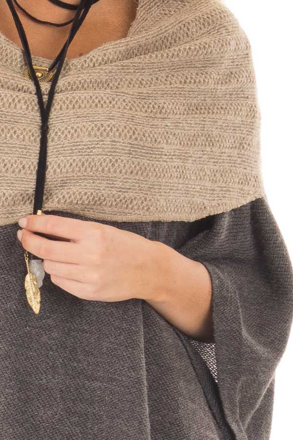 Charcoal Poncho with Taupe Contrast Neckline detail