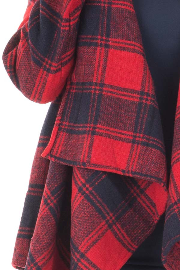 Red and Navy Long Sleeve Thick Knit Cardigan detail