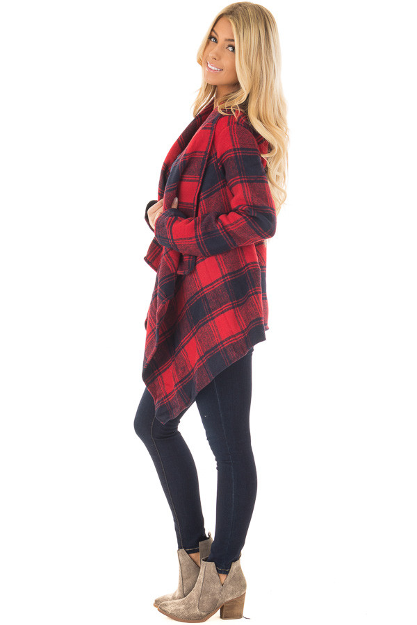 Red and Navy Long Sleeve Thick Knit Cardigan side full body