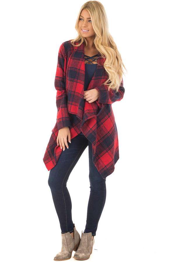 Red and Navy Long Sleeve Thick Knit Cardigan front full body