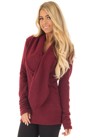 Wine Long Sleeve Top with Build In Scarf front closeup