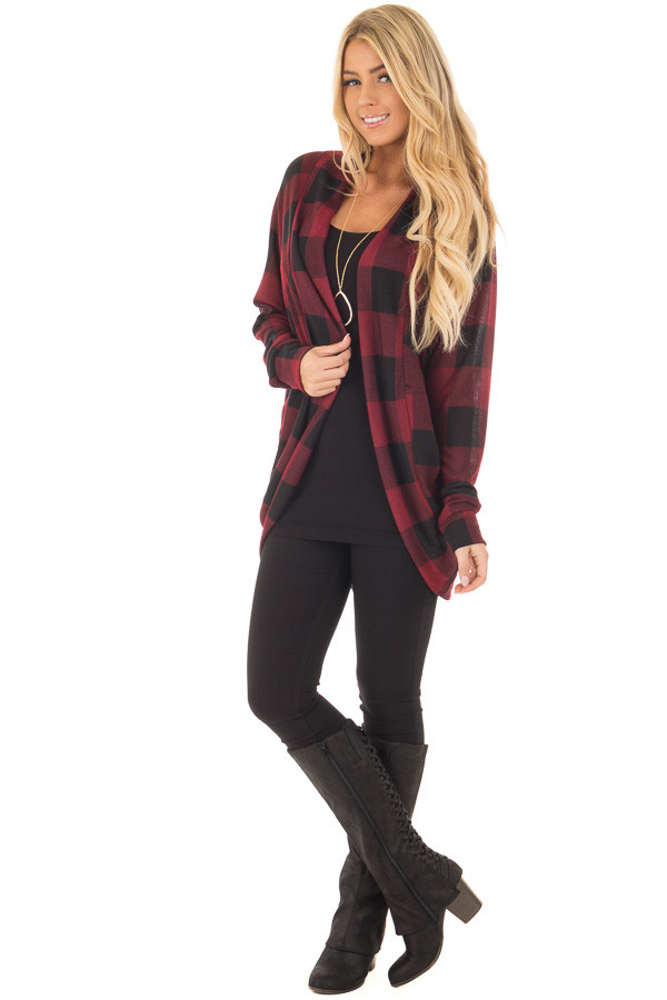Burgundy and Black Checkered Long Sleeve Cardigan front full body