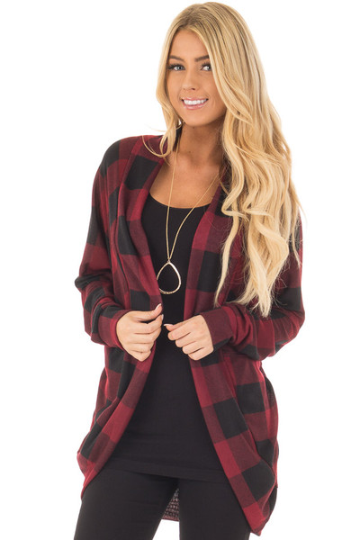 Burgundy and Black Checkered Long Sleeve Cardigan front close up
