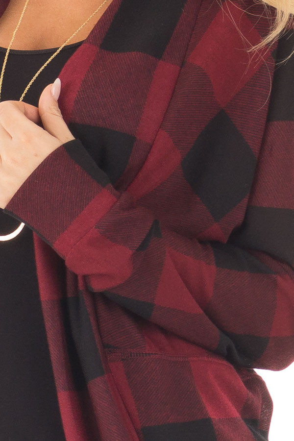 Burgundy and Black Checkered Long Sleeve Cardigan detail