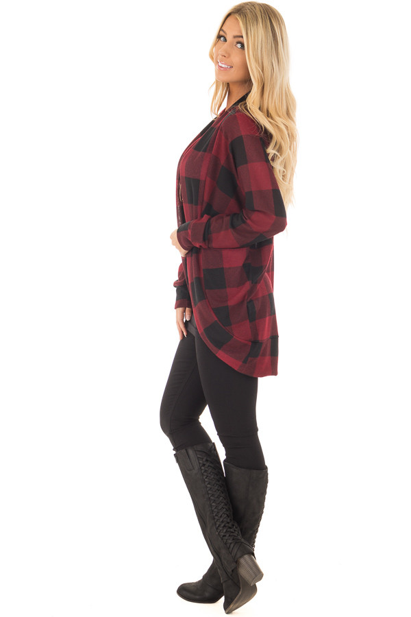 Burgundy and Black Checkered Long Sleeve Cardigan side full body