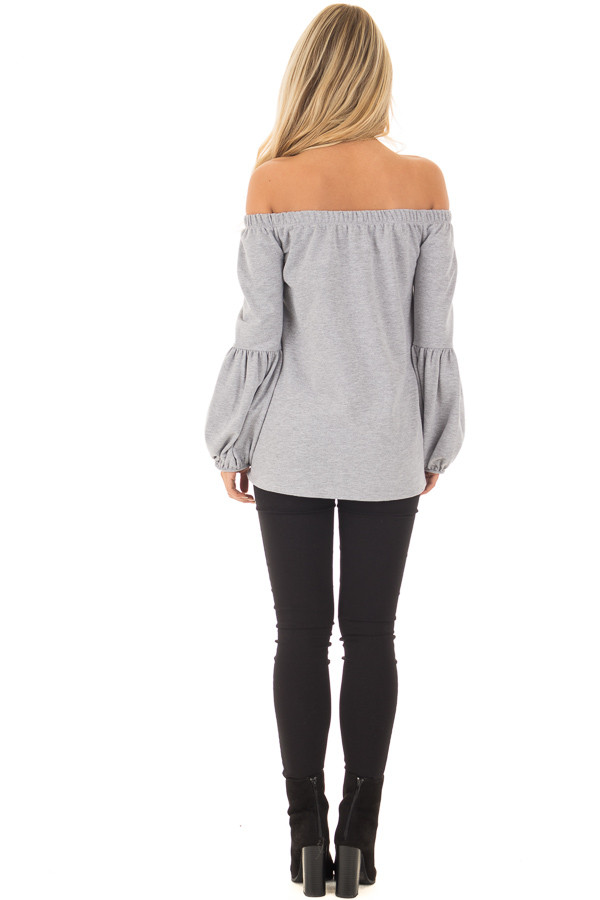 Heather Grey Off the Shoulder Bubble Sleeve Sweater back full body