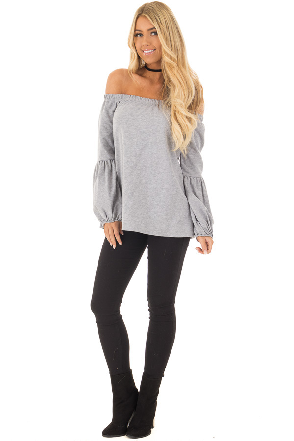 Heather Grey Off the Shoulder Bubble Sleeve Sweater front full body
