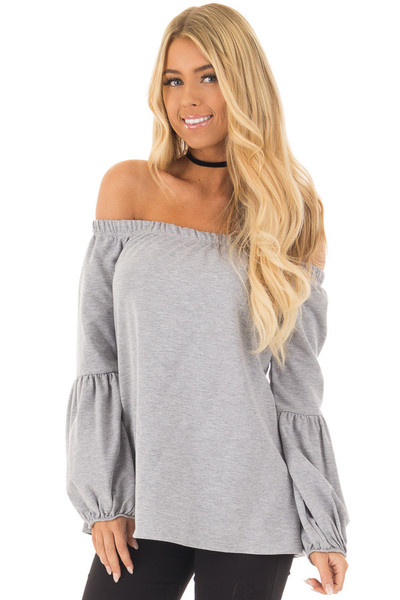Heather Grey Off the Shoulder Bubble Sleeve Sweater front closeup
