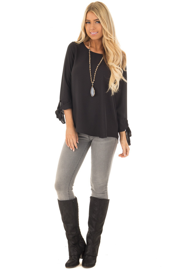 Black Tied Sleeve Blouse with Rounded Neckline front full body