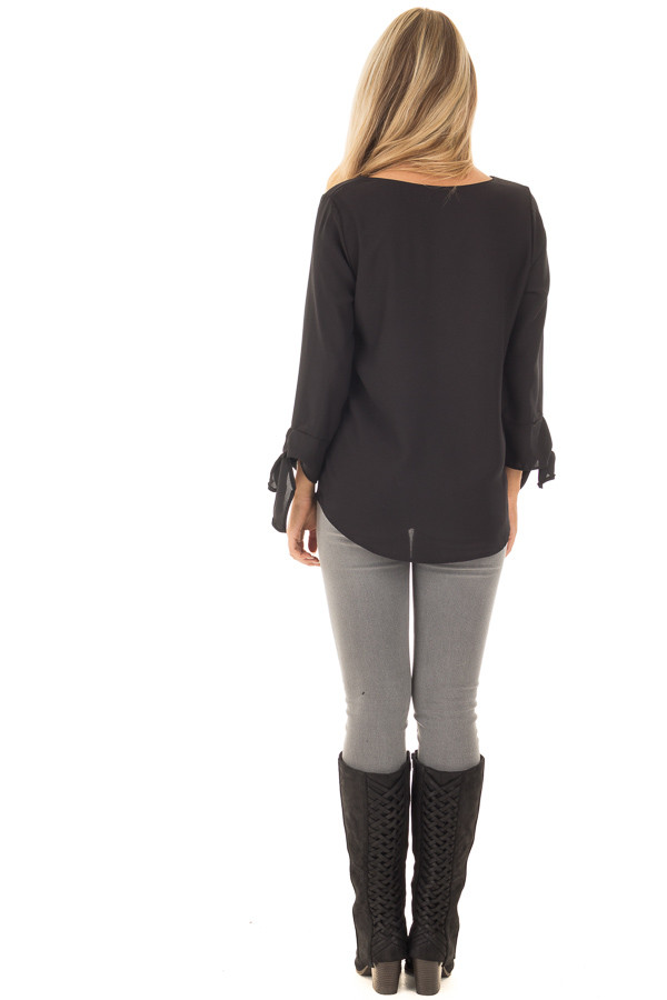 Black Tied Sleeve Blouse with Rounded Neckline back full body