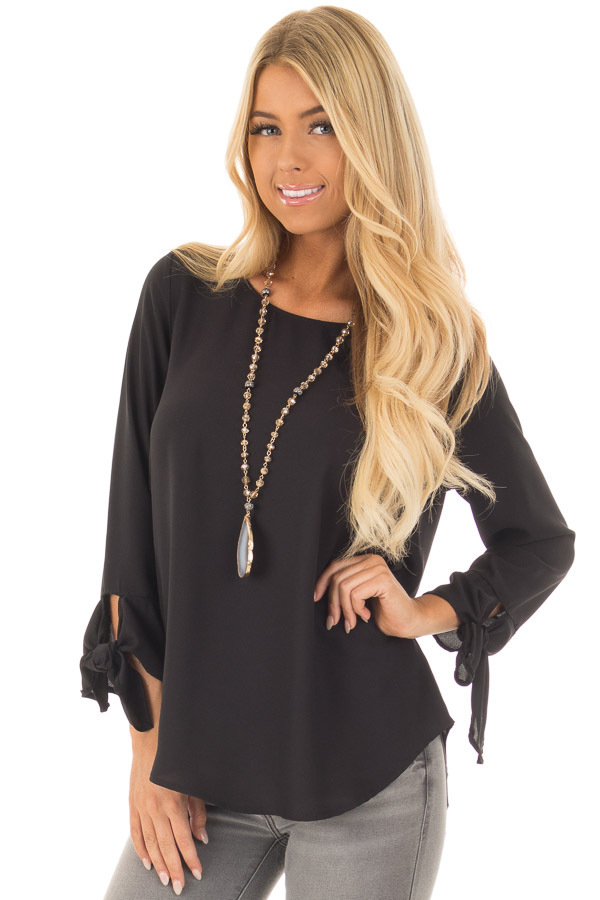 Black Tied Sleeve Blouse with Rounded Neckline front closeup
