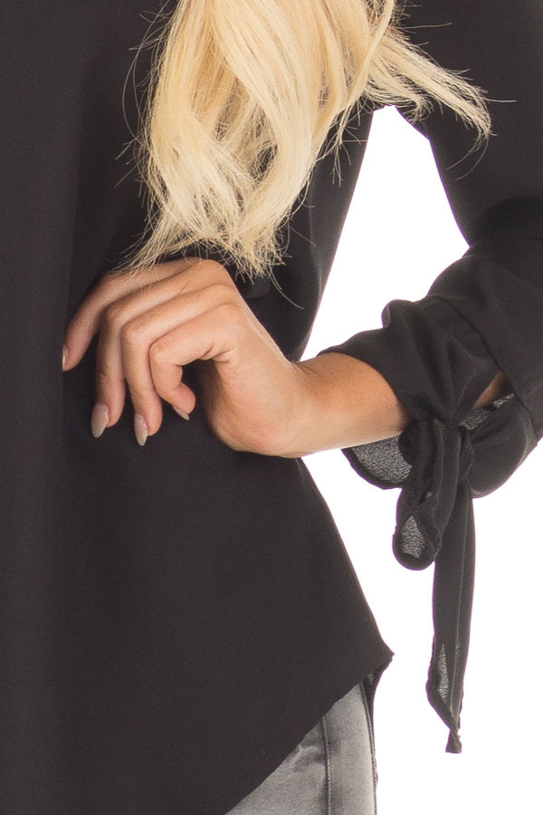 Black Tied Sleeve Blouse with Rounded Neckline front detail