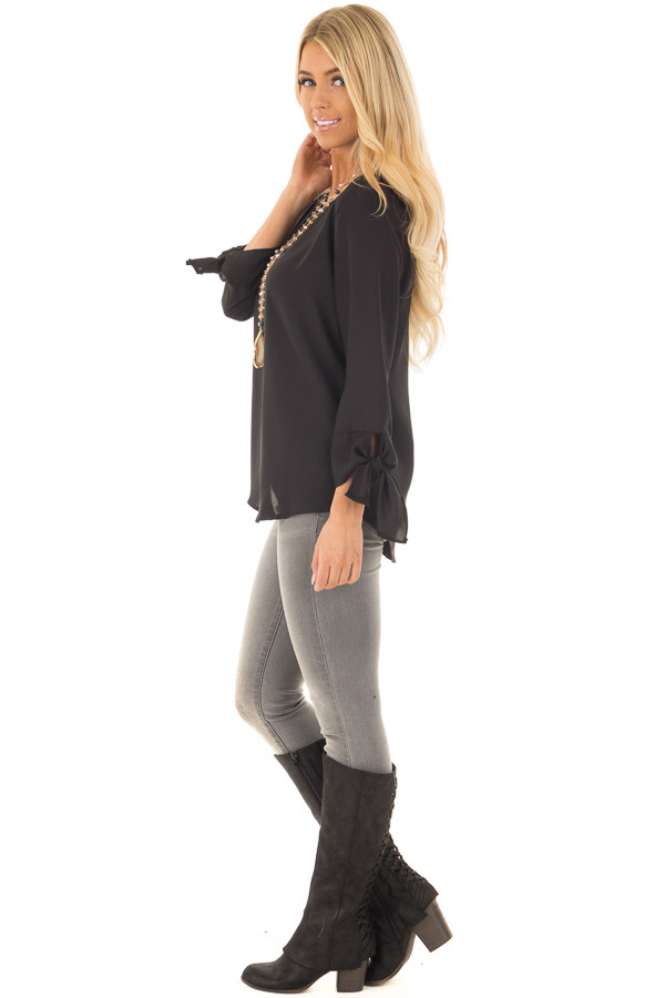 Black Tied Sleeve Blouse with Rounded Neckline side full body