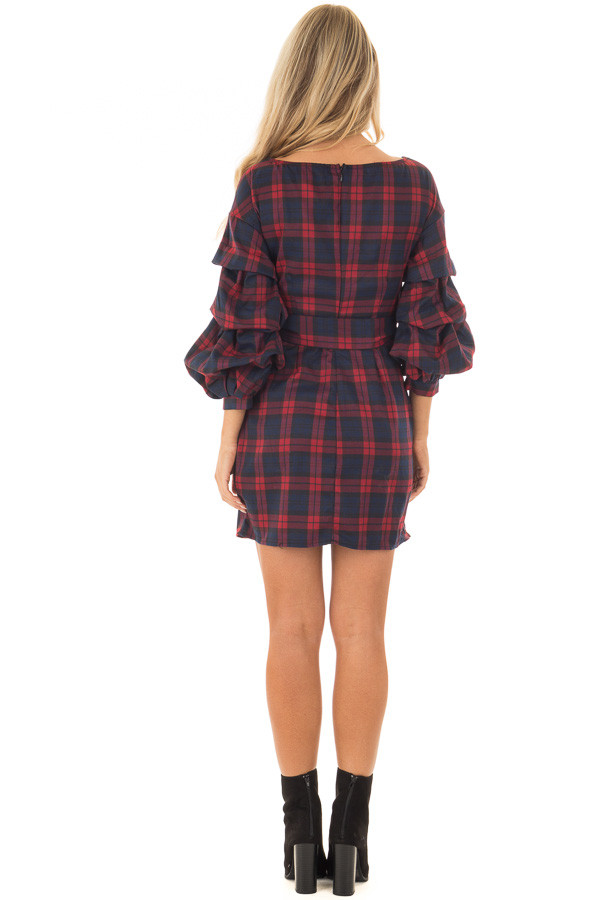 Burgundy Plaid Dress with Bishop Sleeves and Waist Tie back full body