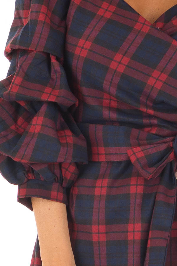 Burgundy Plaid Dress with Bishop Sleeves and Waist Tie front detail