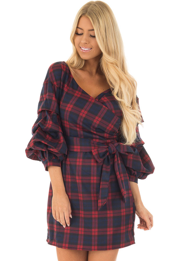 Burgundy Plaid Dress with Bishop Sleeves and Waist Tie front closeup