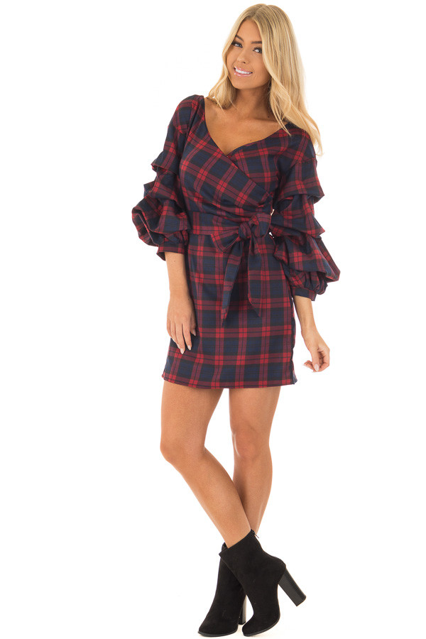 Burgundy Plaid Dress with Bishop Sleeves and Waist Tie front full body