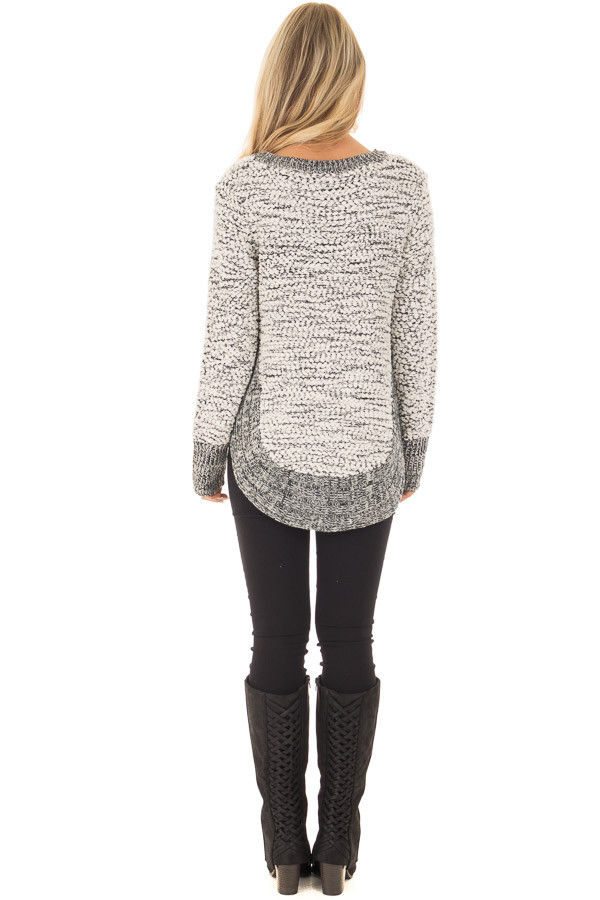 Black and White Soft Long Sleeve Sweater back full body