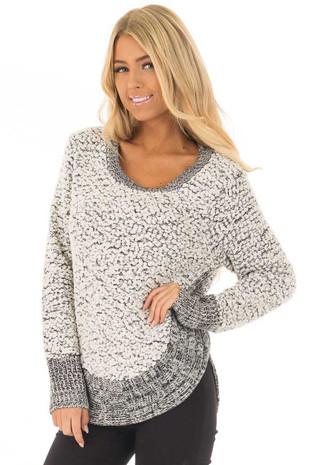 Black and White Soft Long Sleeve Sweater front closeup