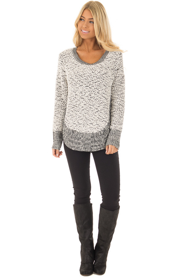 Black and White Soft Long Sleeve Sweater front full body