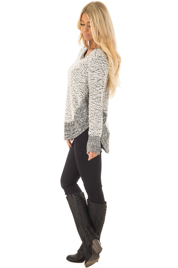 Black and White Soft Long Sleeve Sweater side full body