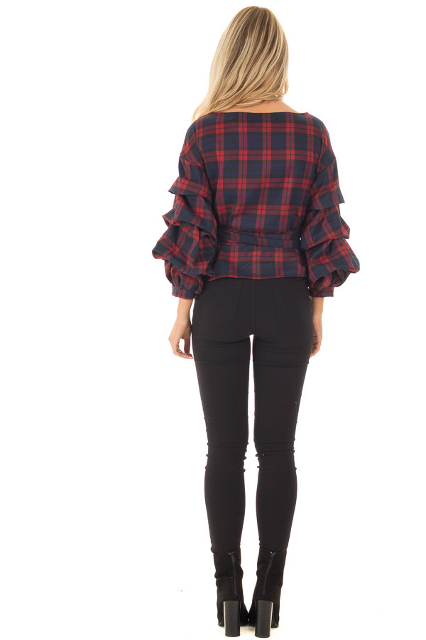 Burgundy Plaid Top with Bishop Sleeves and Waist Tie back full body