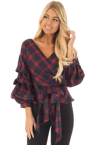 Burgundy Plaid Top with Bishop Sleeves and Waist Tie front closeup