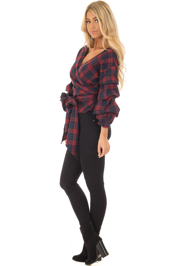 Burgundy Plaid Top with Bishop Sleeves and Waist Tie side full body