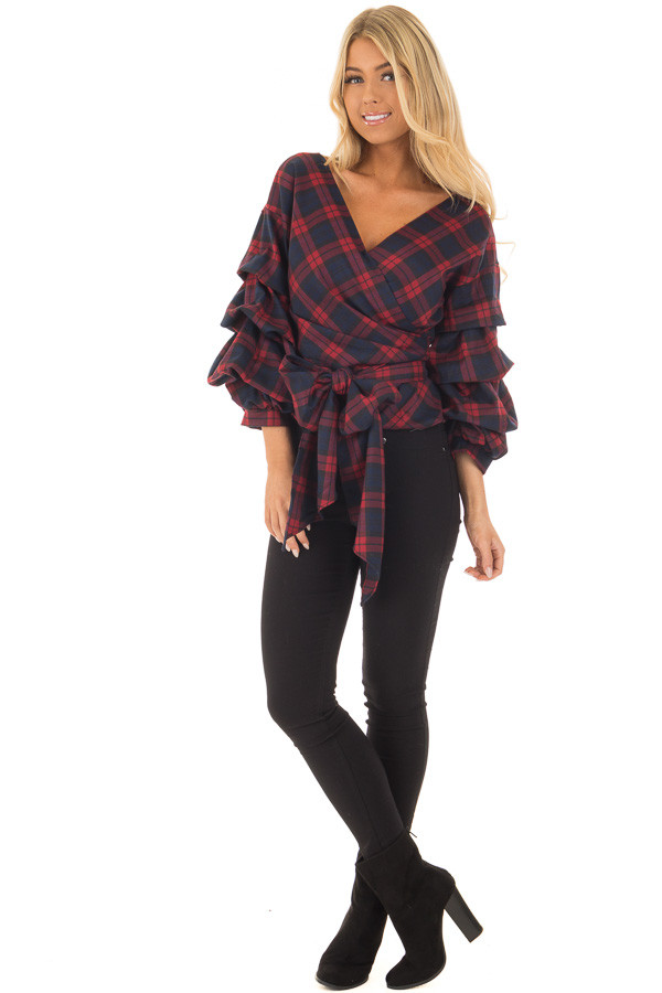 Burgundy Plaid Top with Bishop Sleeves and Waist Tie front full body