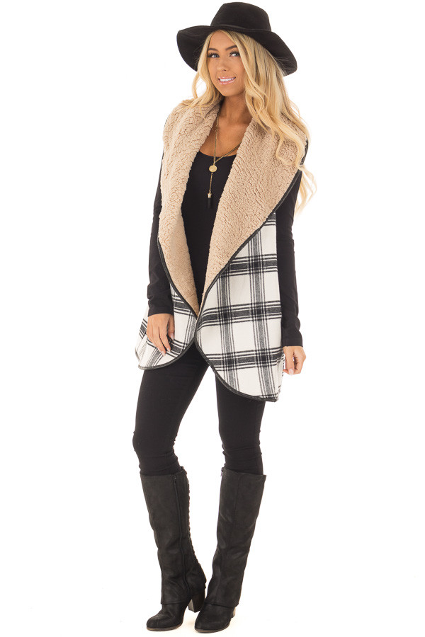 Black and White Vest with Soft Faux Fur front full body