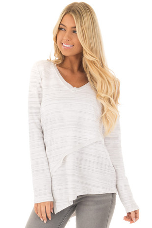 Off White with Grey Striped Asymmetrical Long Sleeve Top front closeup