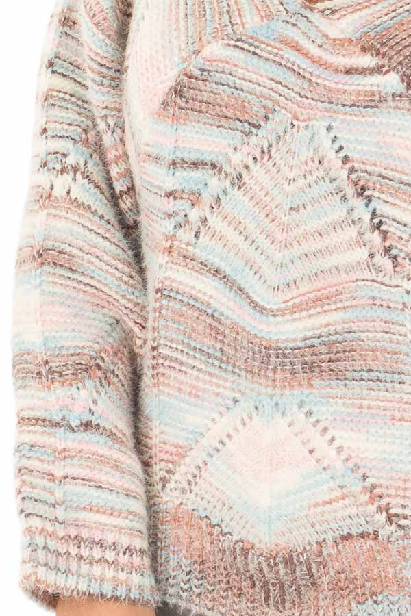 Multi Colored Cable Knit Crop Top Sweater detail