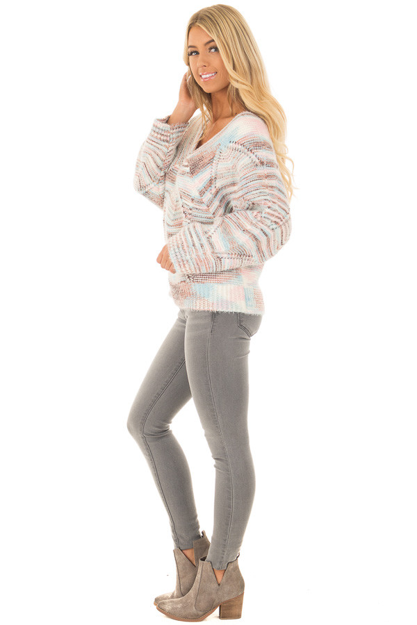 Multi Colored Cable Knit Crop Top Sweater side full body